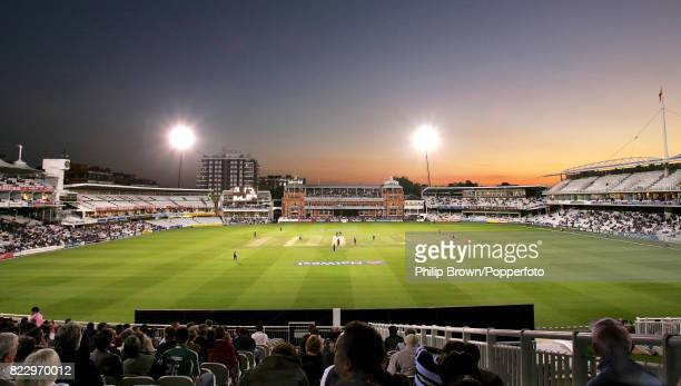 A general view of the ground as Middlesex takes on Derbyshire under lights in the NatWest Pro40 League at Lord's Cricket Ground London 10th September...