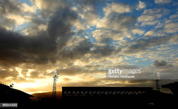 A general view of the ground as the sun sets before the FIFA2010 World Cup Qualifier between Northern Ireland and Slovakia at Windsor Park on...