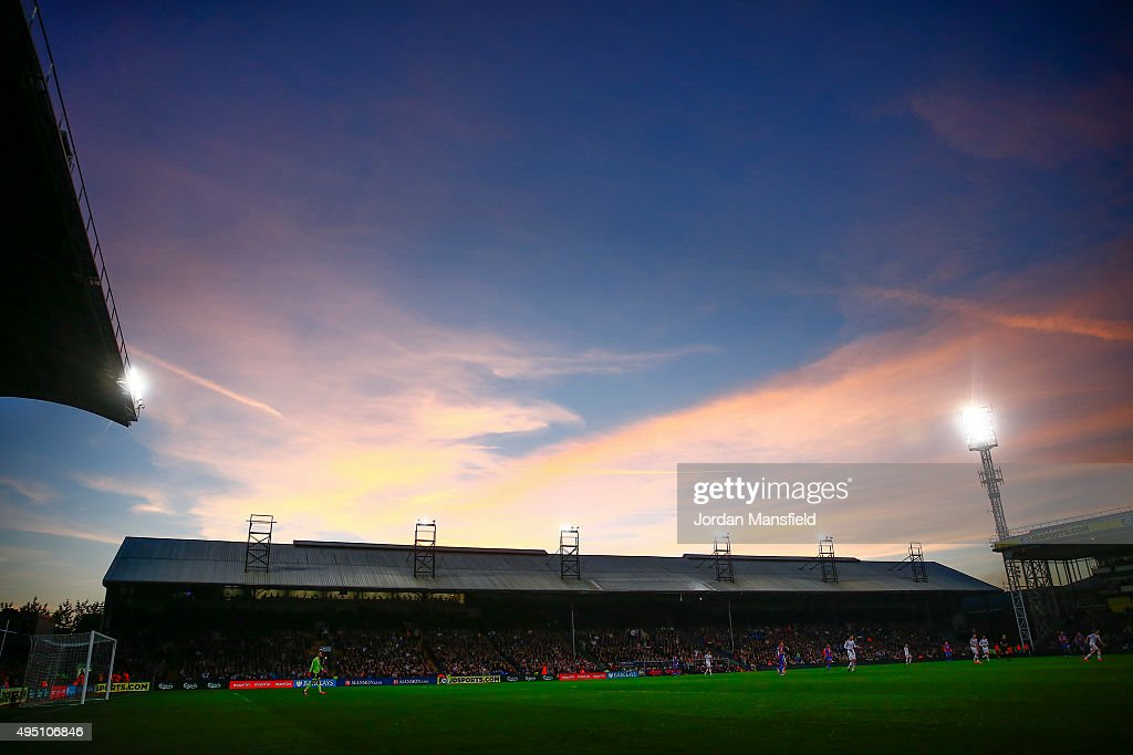 A general view of the ground as the sun sets during the Barclays Premier League match between Crystal Palace and Manchester United at Selhurst Park on October 31, 2015 in London, England.