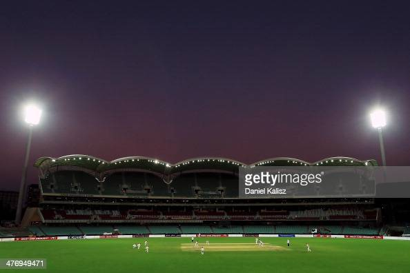 A general view of the ground at sunset during day four of the Sheffield Shield match between South Australia and New South Wales at Adelaide Oval on...