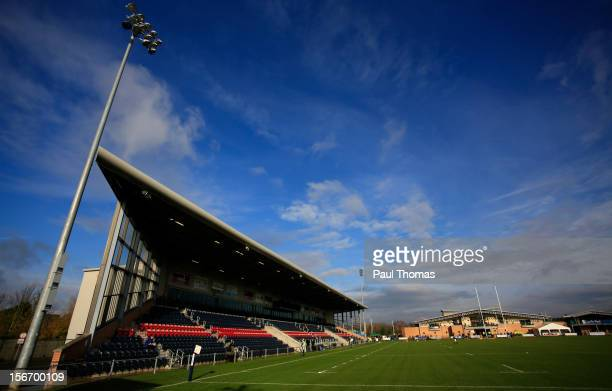 A general view of the ground before the RFU Championship XV and New Zealand Maori All Blacks rugby match at Castle Park on November 17 2012 in...