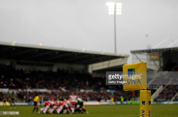 A general view of the ground during the Aviva Premiership match between Northampton Saints and Gloucester at Franklins Gardens on February 9 2013 in...