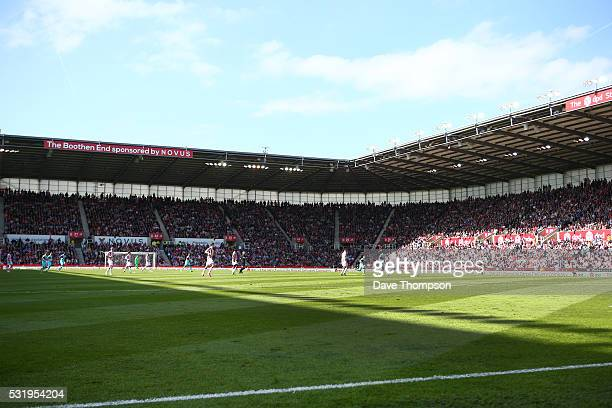 A general view of the ground during the Barclays Premier League match between Stoke City and West Ham United at the Britannia Stadium on May 15 2016...