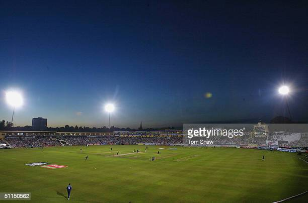 A general view of the ground during the Surrey v Leicestershire Twenty20 cup Final match at Edgbaston Cricket Ground on August 7 2004 in Birmingham...
