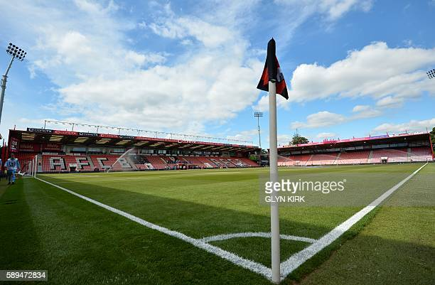 A general view of the ground from pitchside seen ahead of the English Premier League football match between Bournemouth and Manchester United at the...