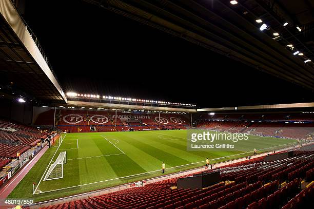 A general view of the ground prior to kickoff during the UEFA Champions League group B match between Liverpool and FC Basel 1863 at Anfield on...