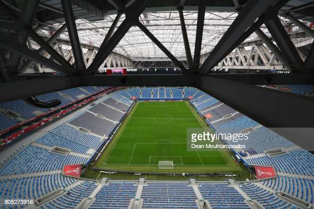 A general view of the ground seats roof and set up of the The Krestovsky Stadium also called Zenit Arena at the FIFA Confederations Cup Russia 2017...