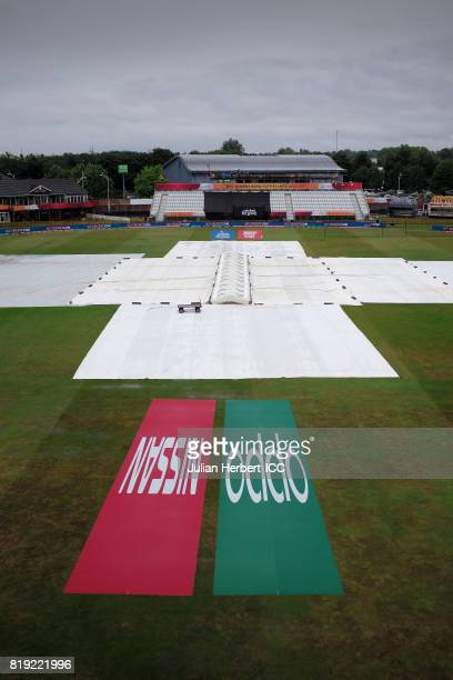 A general view of the ground under rain covers before The Womens World Cup 2017 SemiFinal between Australia and India at The County Ground on July 20...