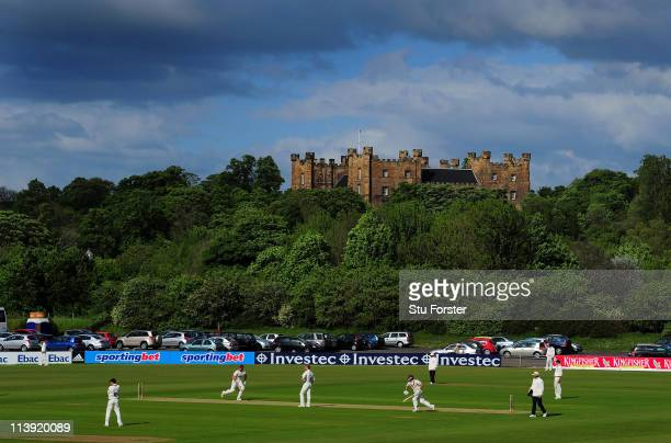 A general view of the ground with Lumley Castle in the background during day one of the LV County Championship Division One match between Durham and...