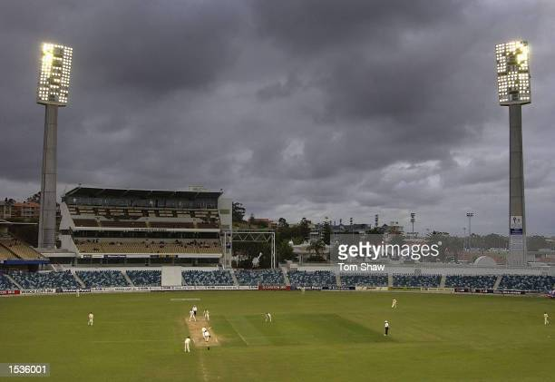 A general view of the ground with the floodlights turned on during the Western Australia v England Three Day tour match at the WACA Perth on October...