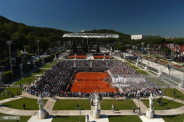 A general view of the grounds and the Pietrangeli Court during day three of the Internazionali BNL d'Italia 2013 at the Foro Italico Tennis Centre on...