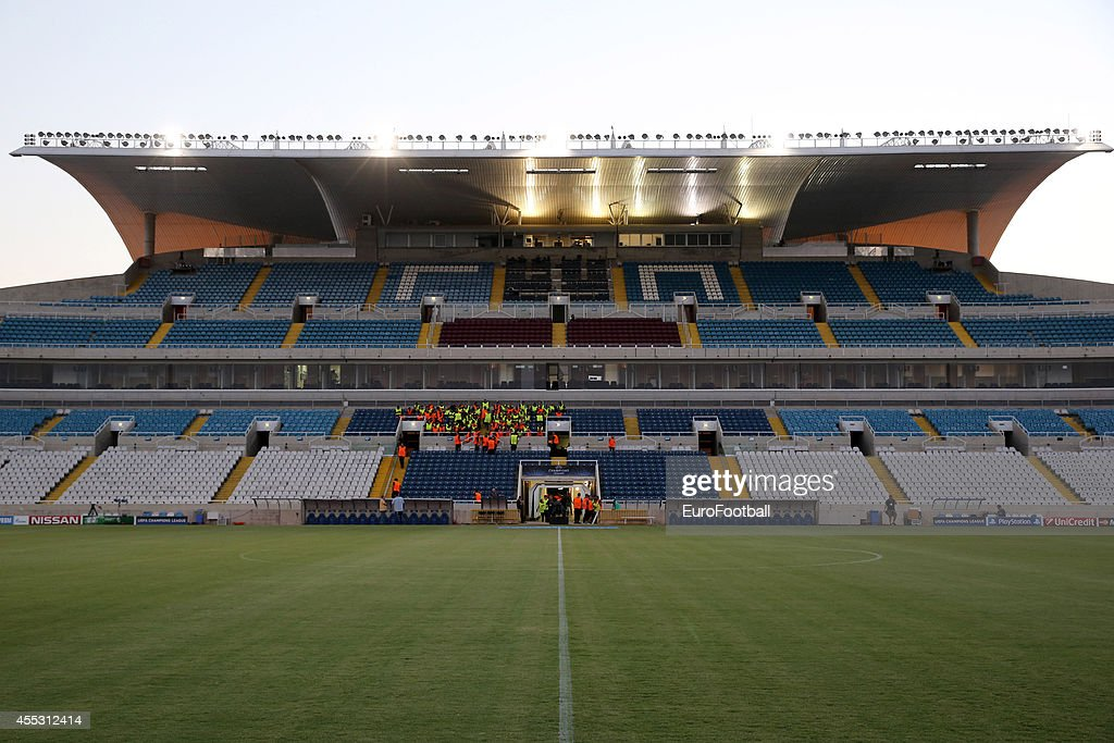 A general view of the GSP stadium before the UEFA Champions League playoffs second leg match between APOEL and Aalborg at the GSP Stadium on August...