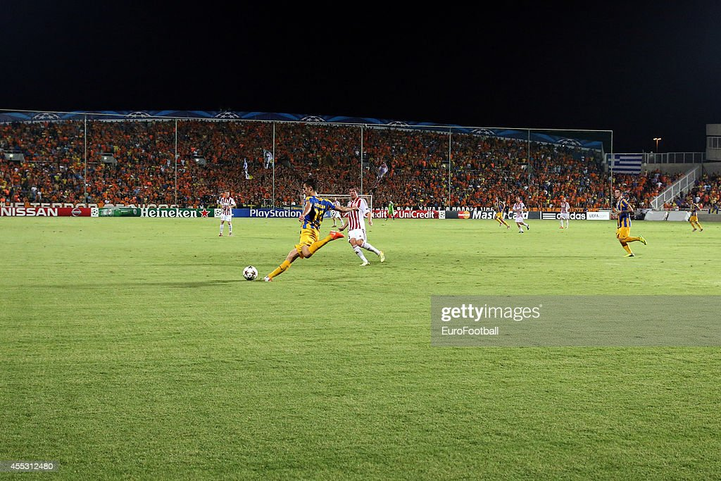 A general view of the GSP stadium during the UEFA Champions League playoffs second leg match between APOEL and Aalborg at the GSP Stadium on August...