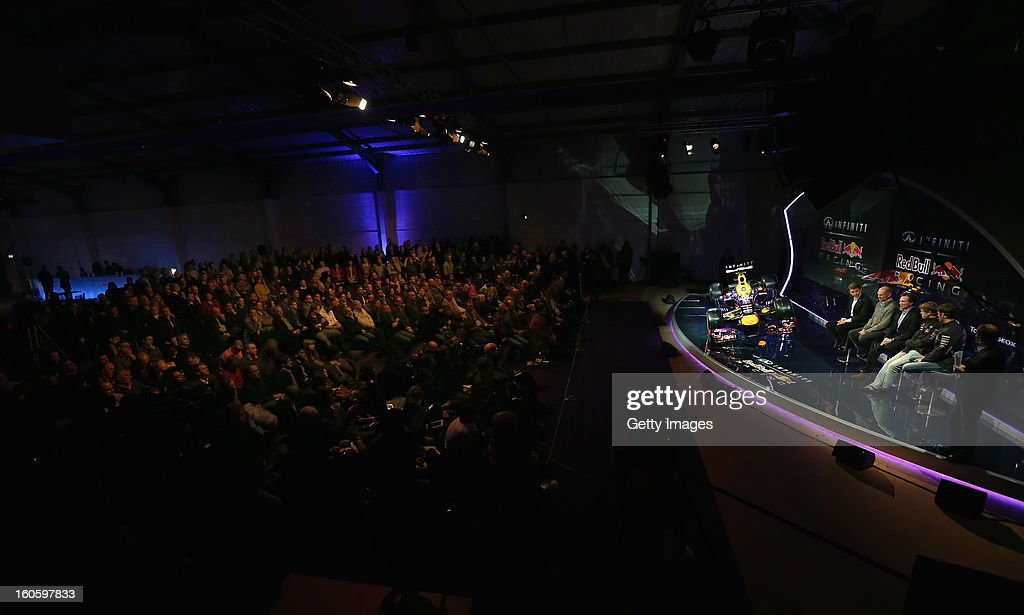 A general view of the guests and the stage during the Infiniti Red Bull Racing RB9 launch on February 3, 2013 in Milton Keyenes, England.