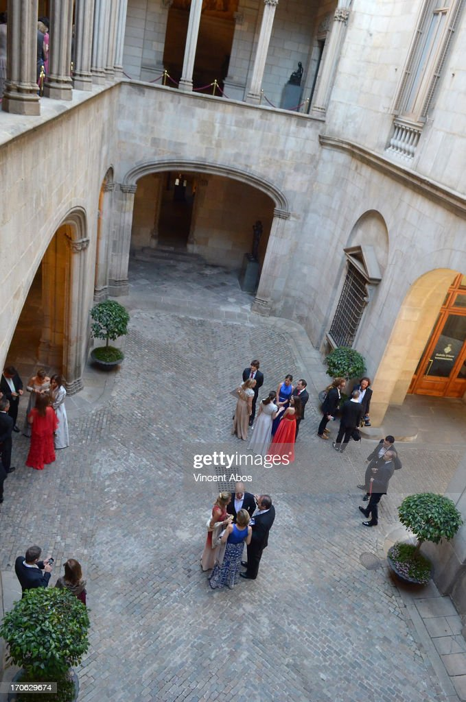 General view of the guests arriving at Barcelona City Hall for the wedding of Rosa Clara and Josep Artigas on June 15, 2013 in Barcelona, Spain.