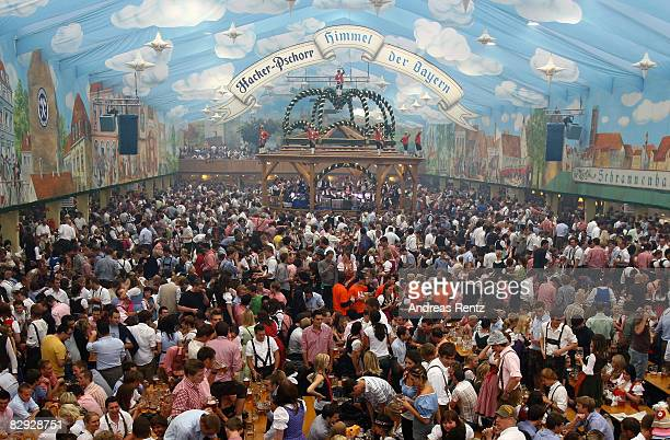 A general view of the HackerPschorr tent is taken during the opening of the Oktoberfest beer festival on September 20 2008 in Berlin Germany The...