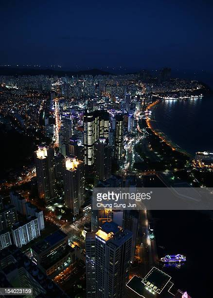 A general view of the Haeundae beach a part of BIFF Plaza during the 17th Busan International Film Festival on October 12 2012 in Busan South Korea...