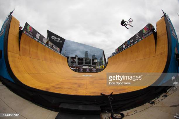 A general view of the half pipe for BMX and skateboarding during the X Games on July 13 2017 at US Bank Stadium in Minneapolis Minnesota