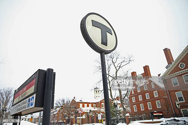 A general view of the Harvard Square subway stop on February 10 2015 in Cambridge Massachusetts Boston was hit with its third major snow storm in...