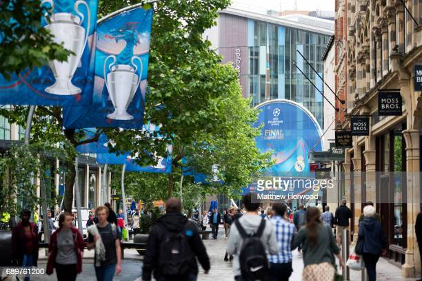 A general view of the Hayes in Cardiff city centre on May 29 2017 in Cardiff Wales Preparations are underway for the UEFA Champions League final...