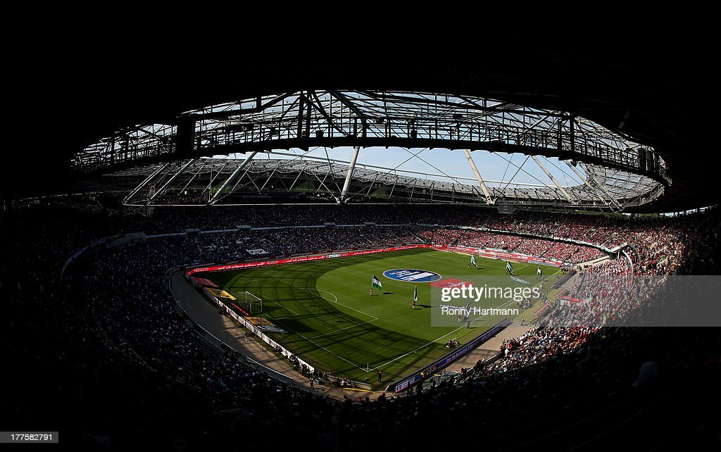 General view of the HDI Arena prior to the Bundesliga match between Hannover 96 and FC Schalke 04 at HDI Arena on August 24 2013 in Hannover Germany