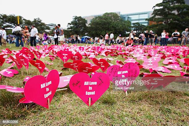 A general view of the Hearts display during the official launch of the Sydney Gay and Lesbian Mardi Gras Festival in Victoria Park on February 15...
