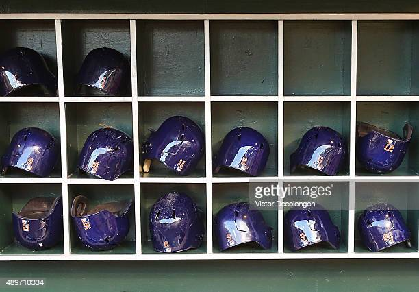 A general view of the helmets in the Houston Astros dugout prior to the MLB game between the Houston Astros and the Los Angeles Angels of Anaheim at...