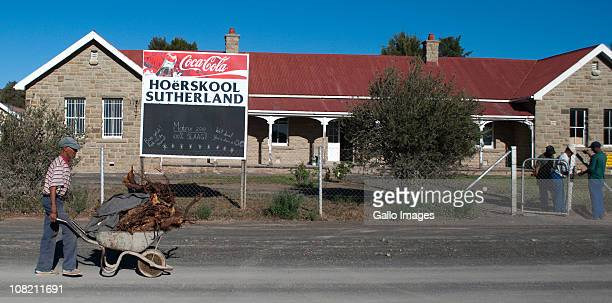 A general view of the high school in the town on January 19 2011 in Sutherland South Africa French fugitive couple Phillippe Meniére and Agnes Jeanne...