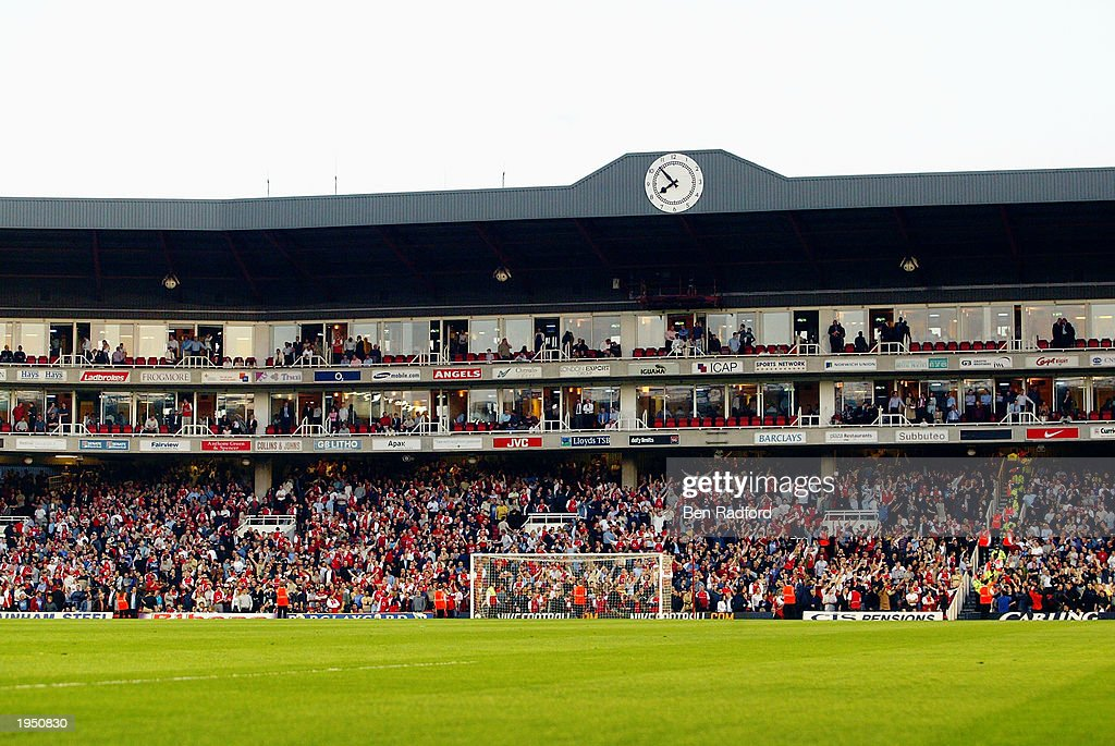 A general view of the Highbury Clock End during the FA Barclaycard Premiership match between Arsenal and Manchester United held on April 16, 2003 at Highbury in London, England. The match ended in a 2-2 draw.