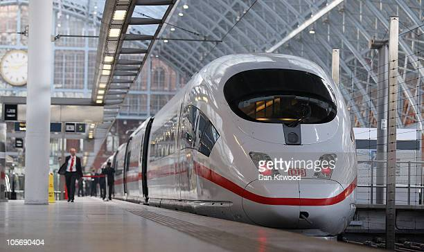 A general view of the highspeed Deutsche Bahn ICE3 InterCity Express train at St Pancas International station on October 19 2010 in London England...