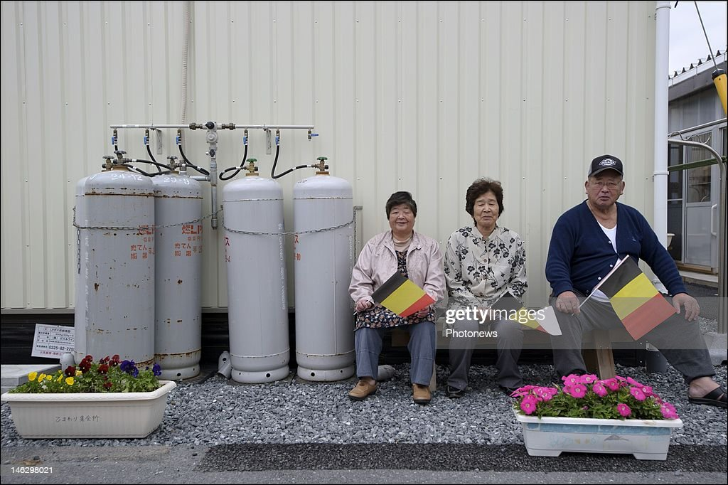 temporary housing unit for victims of the tsunami (Miyagi Prefecture) during a visit by Princess Mathilde of Belgium on June 13, 2012 in Sendai, Japan. Prince Philippe and Princess Mathilde of Belgium are visiting Japan to strengthen economic and bilateral ties between Belgium and Japan.