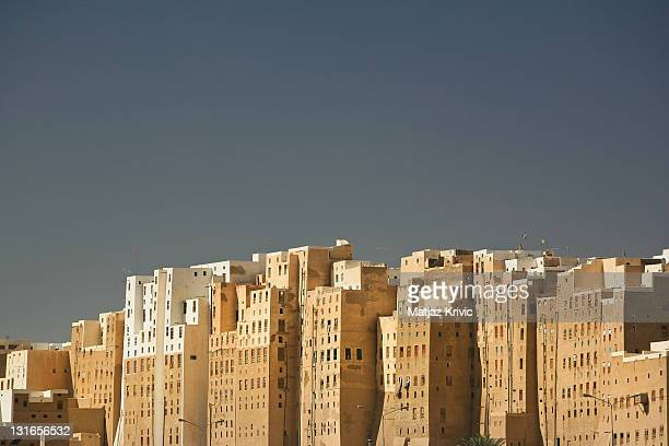 A general view of the historical town of Shibam in the Hadhramout valley also known as the 'Manhattan of the Desert' and 'the oldest skyscraper city...