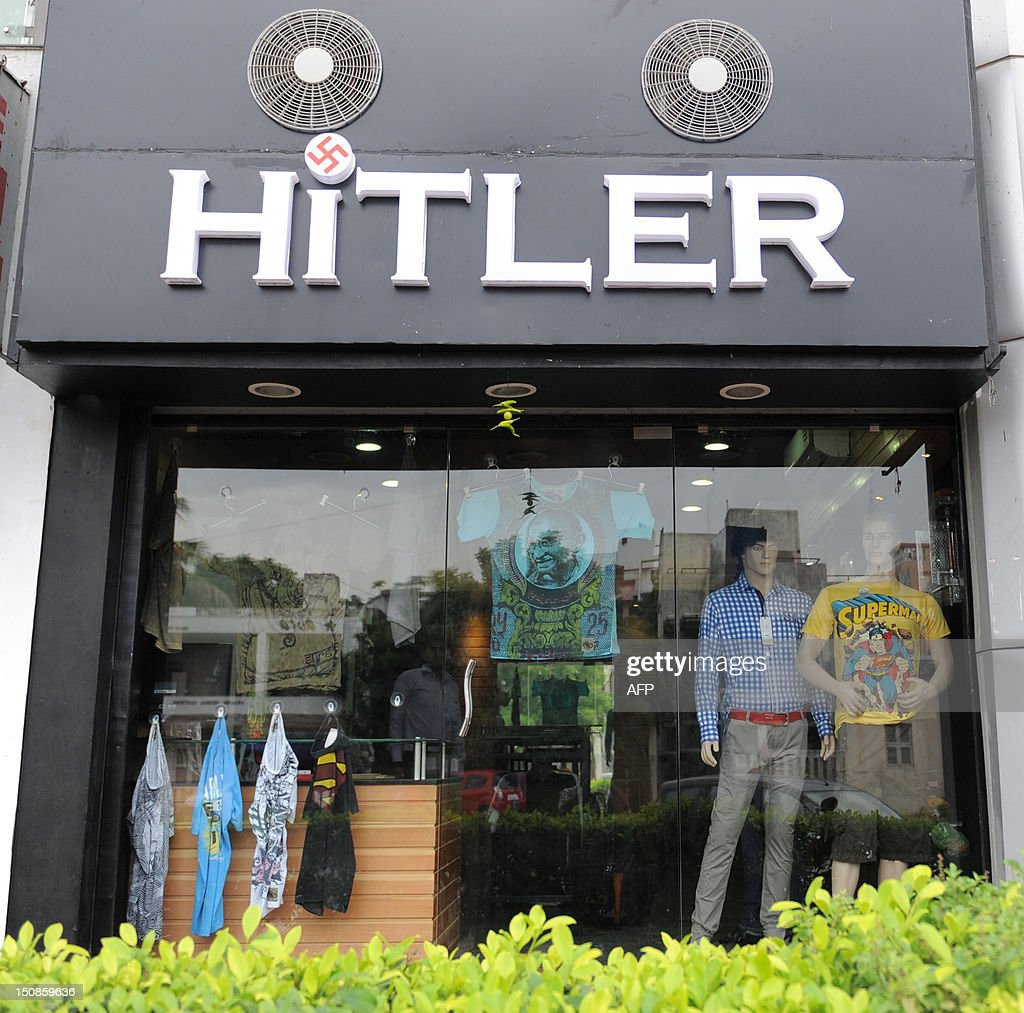 A general view of the 'Hitler' clothing store in Ahmedabad on August 28, 2012. Members of the Jewish community in the western Indian state have urged the shop owners to change the name of the store, which was opened on August 19, 2012. Prior to this a banner with the wording 'Hitler opening shortly' was used by Shah and his co-owner to publicise the opening of the shop. AFP PHOTO/Sam PANTHAKY