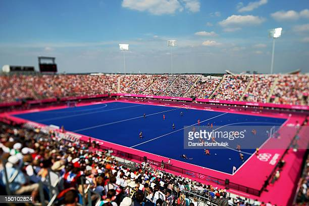 A general view of the Hockey Centre is seen as Great Britain plays against New Zealand during the first half of the Women's Hockey bronze medal match...
