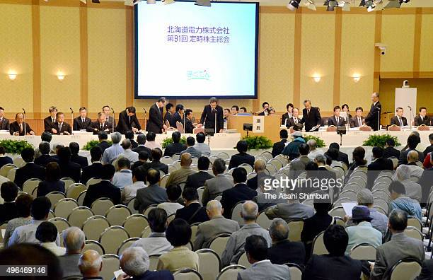 A general view of the Hokkaido Bank's shareholders meeting on June 25 2015 in Sapporo Hokkaido Japan