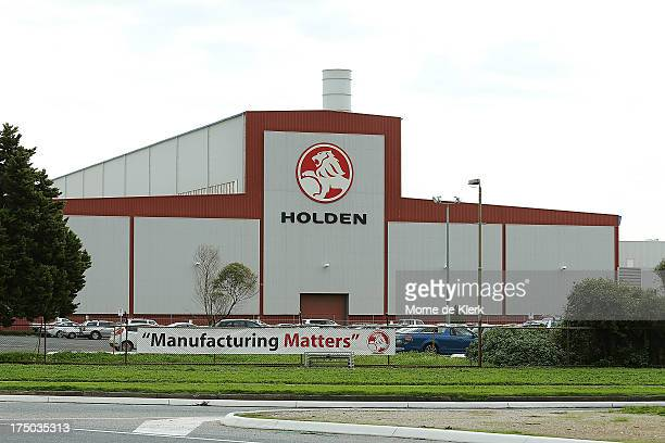 A general view of the Holden manufacturing plant at Elizabeth shows a sign that reads'Manufacturing Matters' on July 30 2013 in Adelaide Australia...