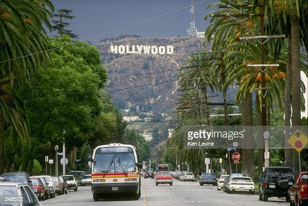 General view of the Hollywood sign on a hill above Los Angeles California