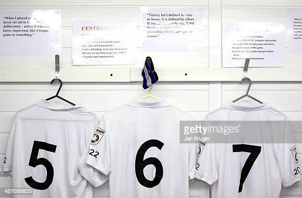 General view of the home dressing room during the FA Cup Qualifying Third Round match between AFC Fylde and Buxton at Kellamergh Park on October 11...
