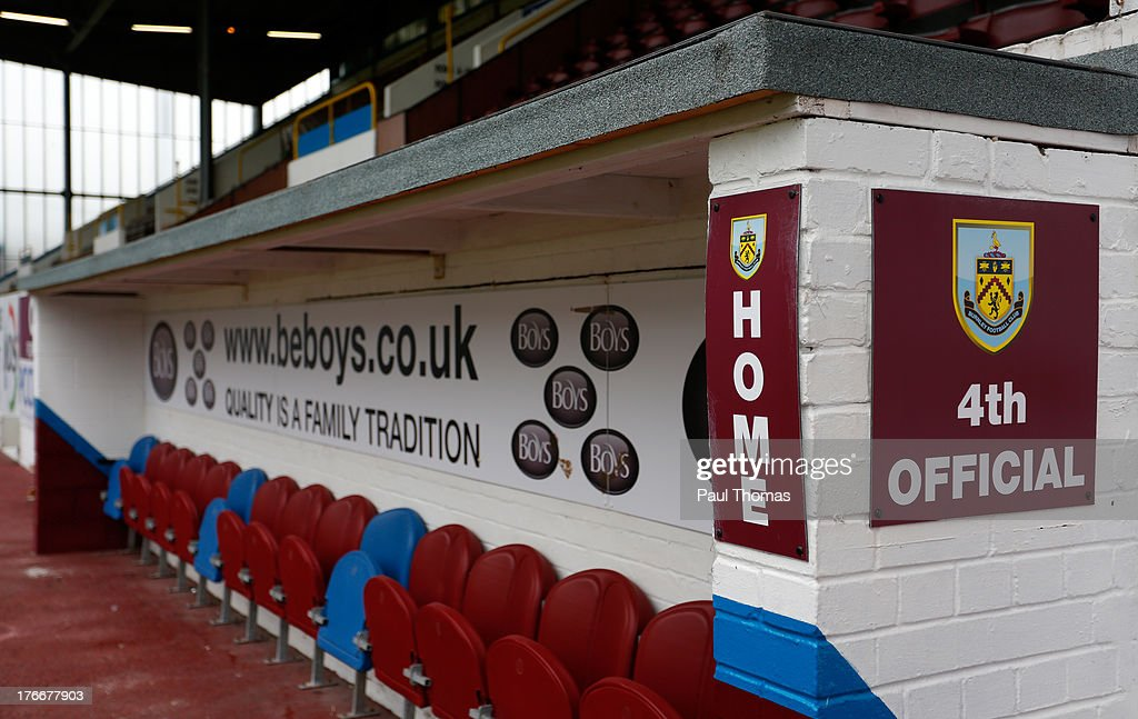 A general view of the home dug out before the Sky Bet Championship match between Burnley and Yeovil Town at Turf Moor on August 17, 2013 in Burnley, England