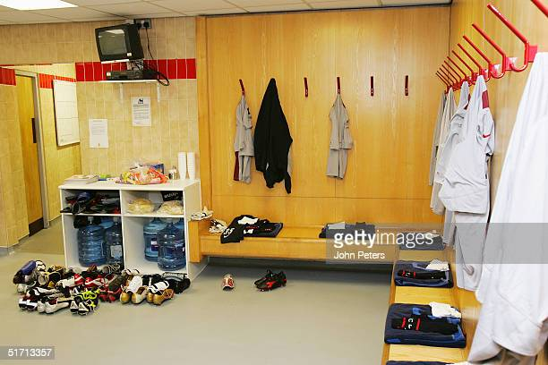 A general view of the home team dressing room at Old Trafford ahead of the Barclays Premiership match between Manchester United and Arsenal at Old...