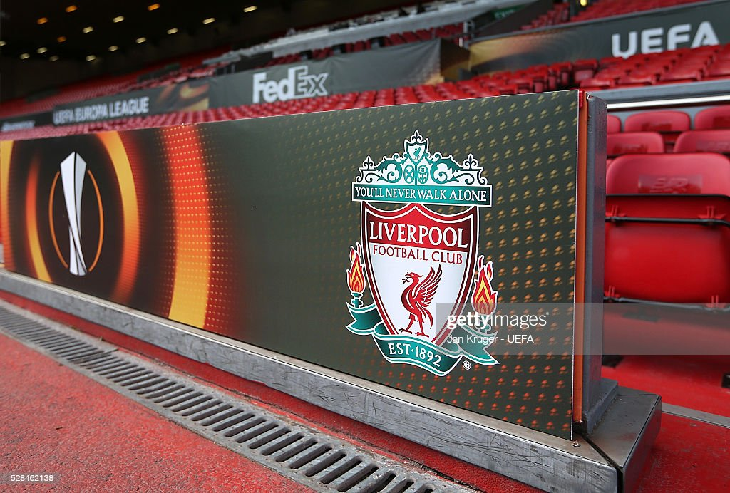 A general view of the home team dug out area ahead of the UEFA Europa League Semi Final second leg match between Liverpool and Villarreal CF at Anfield on May 05, 2016 in Liverpool, England.