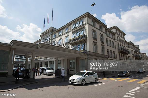 General view of the hotel Baur au Lac Zurich on May 27 2015 in Zurich Switzerland Swiss police on Wednesday raided a the Zurich hotel to detain top...