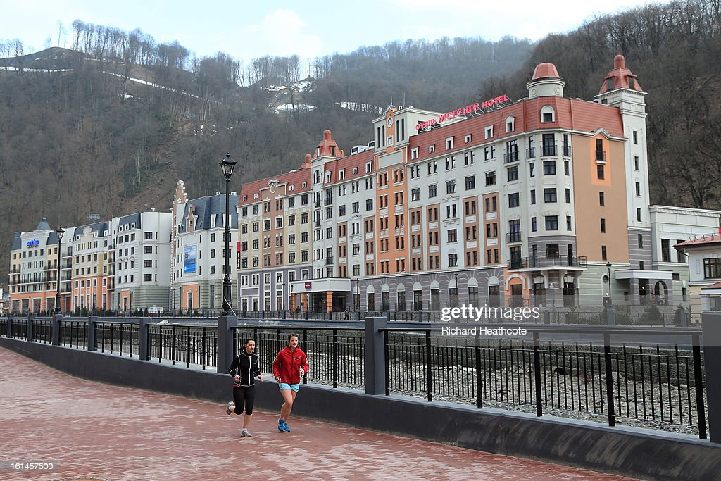 A general view of the Hotels and Restaurantsin the valley at the Rosa Khutor Alpine Ski Resort on February 11, 2013 in Sochi, Russia. Sochi is preparing for the 2014 Winter Olympics with test events across the venues.
