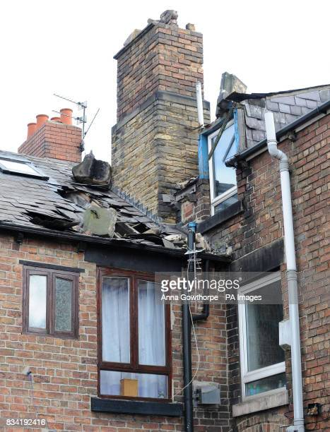 A general view of the house in Barnsley Road Wombwell where part of the roof collapsed during last night's earthquake injuring a man the tremor hit...