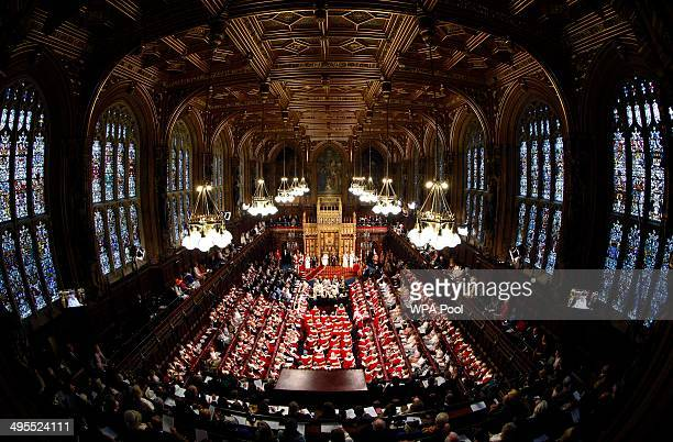 A general view of The House of Lords as Queen Elizabeth II delivers her speech during the State Opening of Parliament in the House of Lords at the...