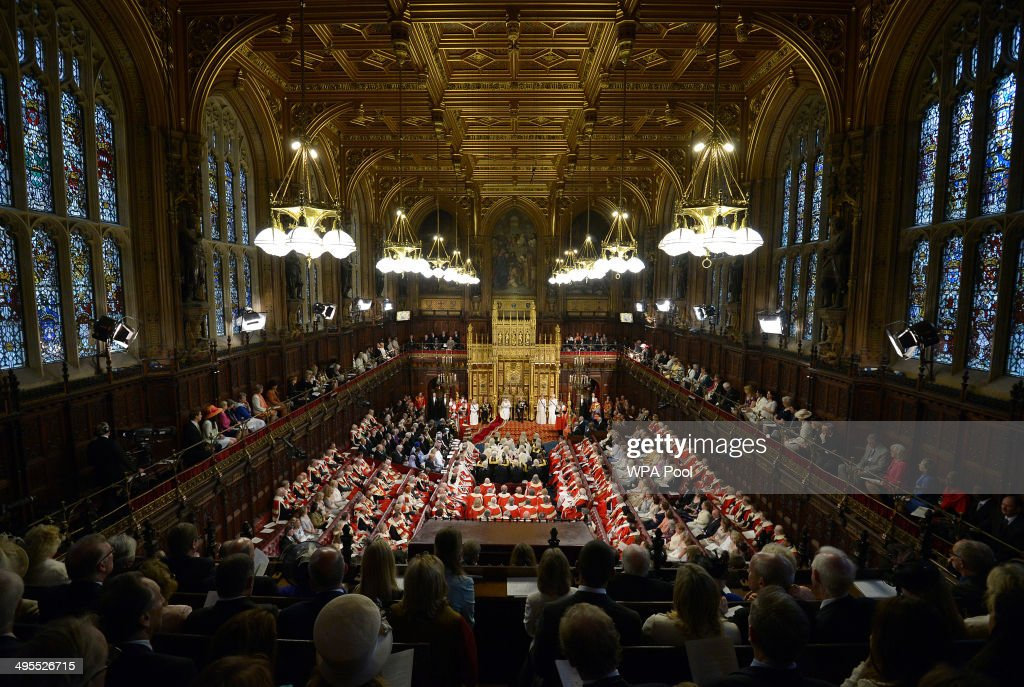 A general view of The House of Lords as Queen <a gi-track='captionPersonalityLinkClicked' href=/galleries/search?phrase=Elizabeth+II&family=editorial&specificpeople=67226 ng-click='$event.stopPropagation()'>Elizabeth II</a> delivers her speech during the State Opening of Parliament in the House of Lords at the Palace of Westminster on June 4, 2014 in London, England. Queen <a gi-track='captionPersonalityLinkClicked' href=/galleries/search?phrase=Elizabeth+II&family=editorial&specificpeople=67226 ng-click='$event.stopPropagation()'>Elizabeth II</a> is to unveil the coalition government's legislative programme in a speech delivered to Members of Parliament and Peers in The House of Lords. Proposed legislation is expected to be introduced on a 5p charge for plastic bags in England, funding of workplace pensions, new state-funded childcare subsidy and reforms to speed up infrastructure projects.