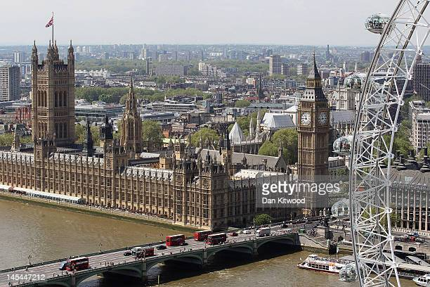 A general view of the Houses of Parliament and the London Eye on May 30 2012 in London England A full rotation of the giant Ferris wheel the largest...