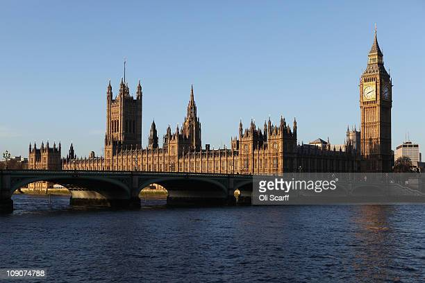 A general view of the Houses of Parliament from the South Bank of the river Thames on February 14 2011 in London England The Government is today...