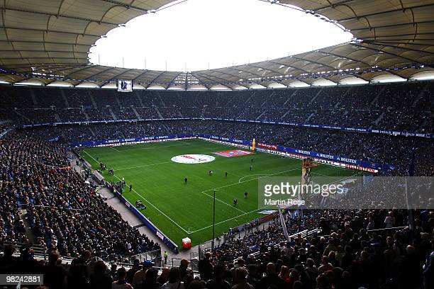 A general view of the HSH Nordbank Arena prior to the Bundesliga match between Hamburger SV and Hannover 96 at HSH Nordbank Arena on April 4 2010 in...