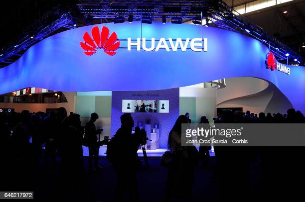 A general view of the Huawei stand during the Mobile World Congress on February 27 2017 in Barcelona Spain